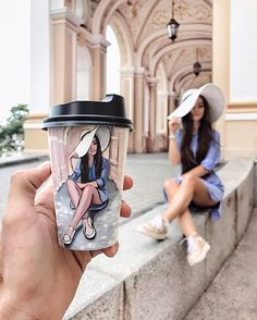 Culture N Lifestyle Lovely Girl Image, Girls Image, Creative Pictures, Creative Art, Disney Drawings, Cute Drawings, Drawing Cup, Starbucks Art, Shadow Painting