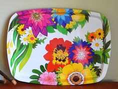 UK Swinging 60s Flower Trays Peter Max Style by MisterTrue