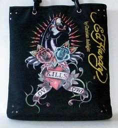 Ed Hardy Christian Audigier Large Tote Black Panther Graphics Handbag Shoulder  #ChristianAudigier #TotesShoppers