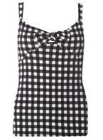 Womens Black Gingham Tie Front Strap Top- Black