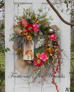 Spring Door Wreath Cottage Chic Wreath by FeatheredNestWreaths Diy Spring Wreath, Spring Door Wreaths, Diy Wreath, Easter Wreaths, Grapevine Wreath, Wreath Ideas, Holiday Wreaths, Spring Crafts, Corona Floral