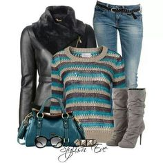 Teal & grey....minus the boots