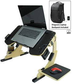 Portable Adjustable Laptop Bed Desk Stand Tray Table - Sturdy Wooden Workstation - Notebook or MacBook Compatible Limited Edition Whit Backpack Included Laptop Desk For Bed, Portable Laptop Desk, Laptop Table, Laptop Stand, Business Office Decor, Wooden Soap Dish, Smart Home Design, Bed Stand, Wood Table Design