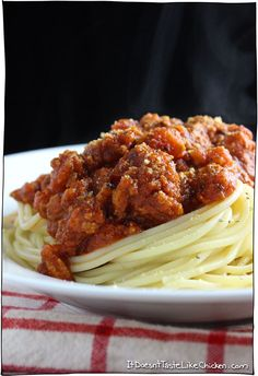 This Tofu Bolognese recipe is to die for. Quick, easy, healthy, vegetarian, vegan, gluten free, hearty, and lick the bowl scrumptious. Just like traditional bolognese but better! #itdoesnttastelikechicken