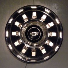 Recycled Hubcap Lighting - 1967 Chevrolet Impala Hub Cap Wall Lamp - Retro Wall Sconce with Chevy Bowtie