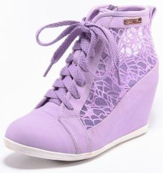 LAVENDER PURPLE HIGH TOP LACE UP FASHION HIDDEN WEDGE SNEAKERS CELENA-06