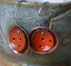 Rustic Enameled Earrings by EnchantedStudios on Etsy, $35.00
