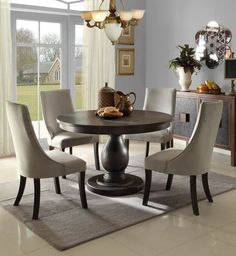 New 5pc enisa distressed washed walnut finish wood round dining table set & what I want for my kitchen...a small round pedestal table with four ...