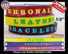 Personalized Leather Bracelet - Personalized Bracelets for Girls - Custom made…