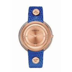 Thea Gold-Plated & Blue Leather Watch, by Versace Watches at Gilt Harry Winston, Patek Philippe, Devon, Cartier, Omega, Swiss Army Watches, Chanel, Seiko Watches, Luxury Watches For Men