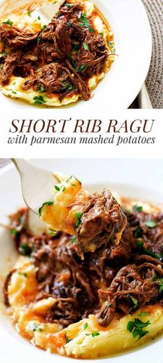This hearty short rib ragu is the ultimate comfort food! It's rich with a velvet. This hearty short rib ragu is the ultimate comfort food! It's rich with a velvety sauce and perfect over mashed potatoes, pasta or rice Slow Cook Short Ribs, Cooking Short Ribs, Asian Short Ribs, Easy Chicken Recipes, Crockpot Recipes, Healthy Recipes, Healthy Food, Recipes With Beef Short Ribs, Beef Red Wine Recipes