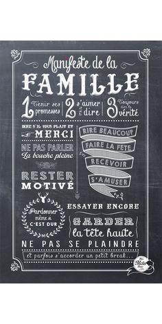 Le plus important, c'est notre famille Chalkboard Art, Some Words, Positive Attitude, Mantra, Decir No, Quotations, Sweet Home, Positivity, Lettering