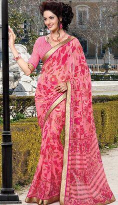 Beautiful Indian Baby Pink Georgette Printed Saree,
