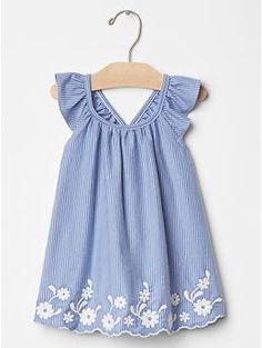Embroidered flutter dress | Gap