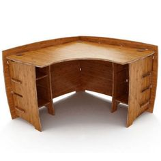 Home-Furnishings - Small Corner Desk - Composite Wood Construction with Amber Bamboo Finish - by Legare | KitchenSource.com