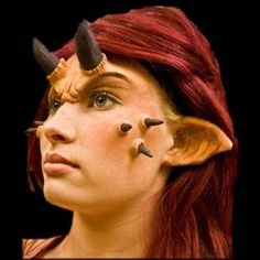 These long, pointed foam latex ears have alien or demon like ridges and apply directly to your skin. Blend them with makeup to create a true Hollywood makeup effect. They make a great addition to your Alien Makeup, Fx Makeup, Alien Ears, Prosthetic Makeup, Hollywood Makeup, Pointed Ears, Makeup Challenges, Halloween Masks, Halloween Eve