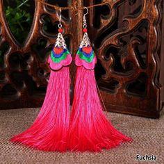 Tassel pink fuschia  Earrings ethnic tribal boho bohemian