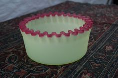 Vintage Crimped Satin Glass Bowl it s beautiful greenish yellow in perfect cond.