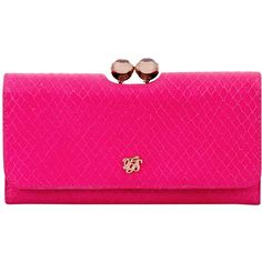 Ted Baker Elaney Snake Matinee Purse, Pink ($155) ❤ liked on Polyvore