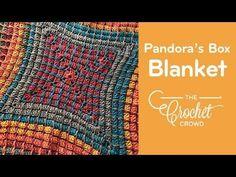 Crochet Pandora's Box Blanket - YouTube Manta Crochet, Tunisian Crochet, Crochet Stitches, Crochet Afghans, Modern Crochet, Crochet Home, Free Crochet, Crochet Crowd, Pandoras Box