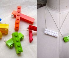 Necklaces, bracelets and earrings made with Legos are beyond easy to make and a great way to reuse your favorite childhood toy. :D The last picture shows a huge batch of necklaces I made in one day! I have a ton of necklaces up for sale in my etsy shop if you'd like one: making jiggy on etsy!