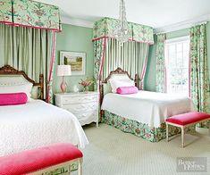 twin beds Twin Girl Bedrooms, Pink Bedroom For Girls, Girl Bedroom Walls, Girls Bedroom Furniture, Guest Bedrooms, Bedroom Decor, Bedroom Ideas, Guest Room, Girl Rooms