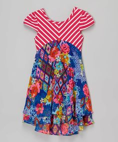 Love this Fuchsia Floral Cap-Sleeve Dress - Infant & Girls by Youngland on #zulily! #zulilyfinds