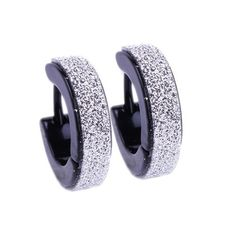 * Penny Deals * - Huggie Hoop Earring Micropave Textured Metal, Huggies Earrings Black -- Find out more about the great product at the image link.