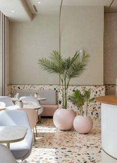 uses Italian terrazzo to create timeless design for new cafe in the Dubai Mall Design Mena Italian Interior Design, Restaurant Interior Design, Commercial Interior Design, Commercial Interiors, Italian Home Decor, Rustic Italian, Salon Interior Design, Gold Interior, Classic Italian