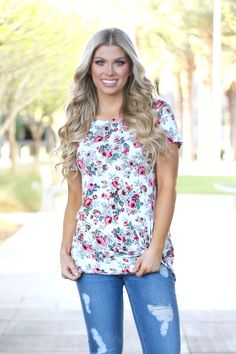 On My Own Floral Top- Ivory/Gray – Boutique Amore