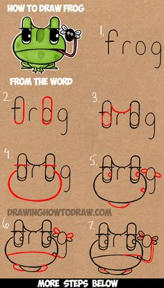 How to Draw Cartoon Frogs from the Word Frog Easy Step by Step Word Cartoon Tutorial for Kids (Step Drawing Doodles) Word Drawings, Doodle Drawings, Cute Drawings, Animal Drawings, Drawing With Words, Drawing Lessons For Kids, Drawing Tutorials For Kids, Art Lessons, Cartoon Tutorial
