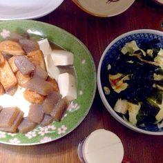 カレーライスの前に - 36件のもぐもぐ - 豆腐と蒟蒻と薩摩揚げの旨煮・わかめとキャベツのサラダ・ by taroumasaydyZ