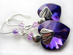 Swarovski Purple Heart Earrings Cobalt Blue Violet by NataliaKh, $25.77
