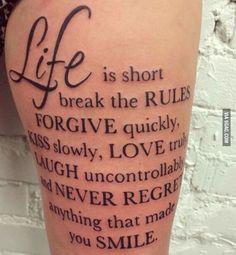 Say tattoo thigh - Tattoo Designs - Tattoo Designs For Women Dope Tattoos, Girly Tattoos, Pretty Tattoos, Leg Tattoos, Tattoos For Guys, Tatoos, Thigh Tattoo Quotes, Good Tattoo Quotes, Tattoo Thigh