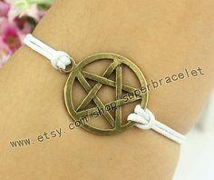 Pentagram bracelet bronze charm charm of white by superbracelet, $1.99