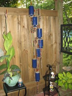 Ceramic wine bottle and bead wind chimes