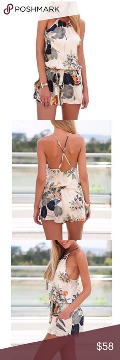 Floral Print Casual Romper Blackless Cotton Blend O Neck, Blackless Spaghetti Strap, Summer style Pants Jumpsuits & Rompers