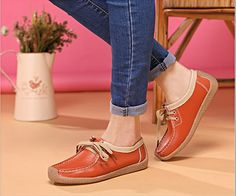LACE UP SOFT LEATHER FLAT SHOES BREATHABLE WALKING SLIP-ONS is your go to shoes for all kinds of occasions whether formal or informal or casual. #womenfashion #womenshoes #slipons #leathershoes