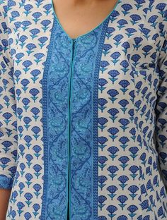 White-Blue Printed Bias-Cut Cotton Jacket