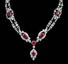 Platinum Diamond & Ruby Necklace