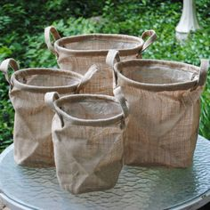 Burlap Bordeaux Buckets w/ Handles - Set of 4-Burlap buckets handles plant container gift wrap collapse