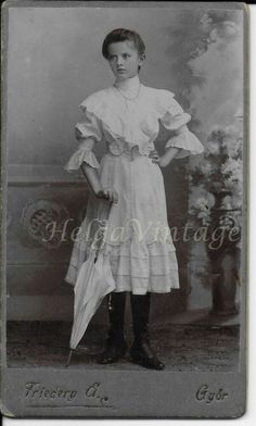 Antique HUN CDV/visit card, young elegant girl, umbrella Friedery Albert Gyor Elegant Girl, Vintage Photos, Children, Kids, Vintage Fashion, Portraits, Statue, Antiques, Painting