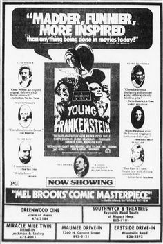 "Newspaper advertisement for ""Young Frankenstein"""