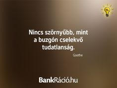 Nincs szörnyűbb, mint a buzgón cselekvő tudatlanság. - Goethe, www.bankracio.hu idézet