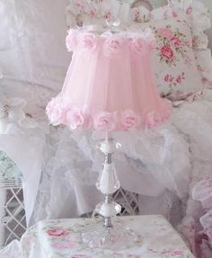 Shabby Chic Style Home Decorating Vintage Finds Rhinestone Clock Chandelier  Beaded Garland Pink Roses Dcor Crystal Lamps Vanity Boxes Trays Beach  Cottage ...