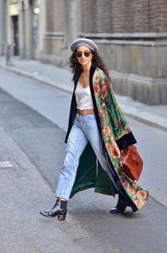 Look Kimono, Kimono Outfit, Kimono Fashion, Kimono Style, Abaya Style, Kimono Top, Fashion Mode, Look Fashion, Fashion Outfits