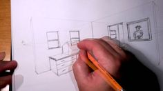 Drawing a 2 point perspective front view of a basic set design. Creating a black and white front view sketch that a set designer, and/or a lighting designer ...