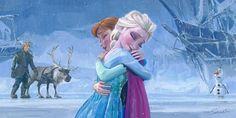 Frozen Canvas Art Print features an amzing witer scene that has Anna and Els giving each other a hug and finnd Olak, Sven and Kristoff in the background. Godard Art, Frozen Film, Disney Fine Art, Disney Treasures, Disney Paintings, Popular Art, Disney Films, Walt Disney, Art Programs