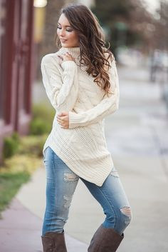 339f4eaf1446b Point At You Cable Knit Turtleneck Pointed Hem Sweater (Ivory) -  NanaMacs.com