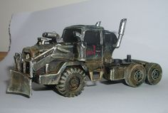 War Rig in the style of Mad Max, converted from toy cars and plasticard.